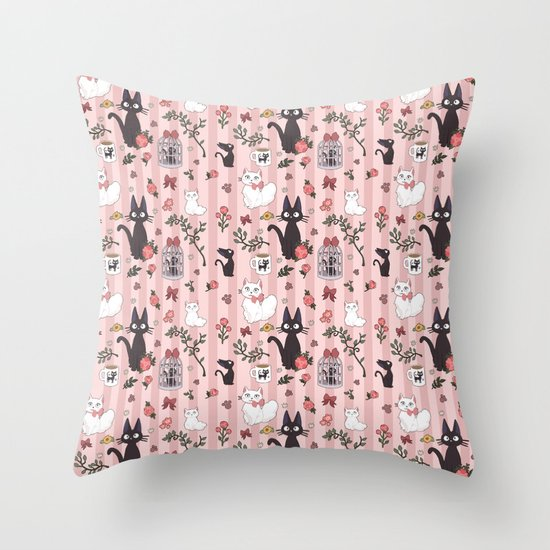 Jiji Cat Pattern Throw Pillow