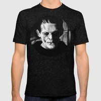 THE MONSTER of FRANKENSTEIN - Boris Karloff Mens Fitted Tee Tri-Black SMALL