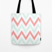Mint & Coral Chevron Tote Bag