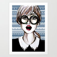 Girl and blue pattern Art Print