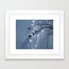 Hearts and Snowflakes Framed Art Print