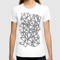 Abstract New Black on White Womens Fitted Tee White SMALL