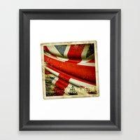 Sticker With UK Flag Framed Art Print