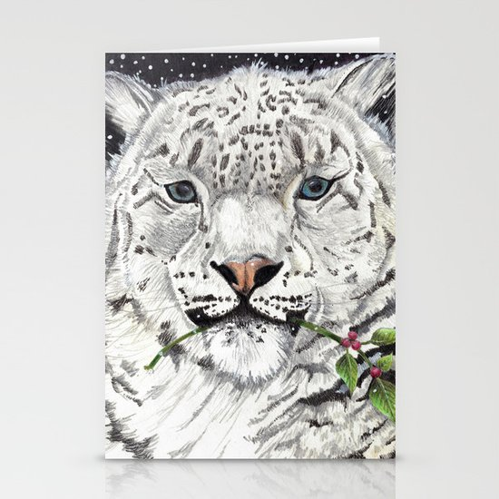 Snow Leopard Stationery Card