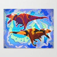 Dinosaur Collaboration Canvas Print