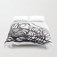 Paint 2 abstract black and white minimal brushstroke japanese modern home decor dorm college  Duvet Cover