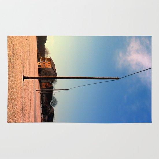 Powerline, sundown and winter wonderland   landscape photography Area & Throw Rug