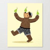 A Bear With Pears Canvas Print