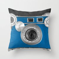 Dazzel blue Retro camera Throw Pillow