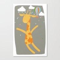 giraffe in the rain Canvas Print