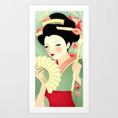 Geisha: Rose Art Print