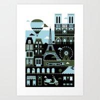 paris Art Prints featuring Paris by koivo