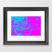 Blue And Pink Swirls  Framed Art Print