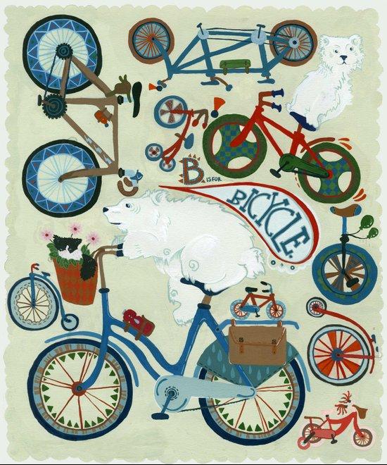 B is for Bicycle! (and polar bears) Art Print