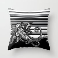 Paisley Stripe: Black Throw Pillow
