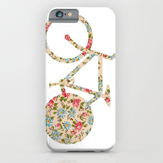 Whimsical cute girly floral retro bicycle iPhone & iPod Case