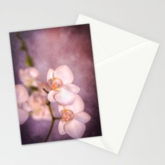 the white orchid - violet texture Stationery Cards