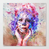 Sugar Skull Splats Canvas Print