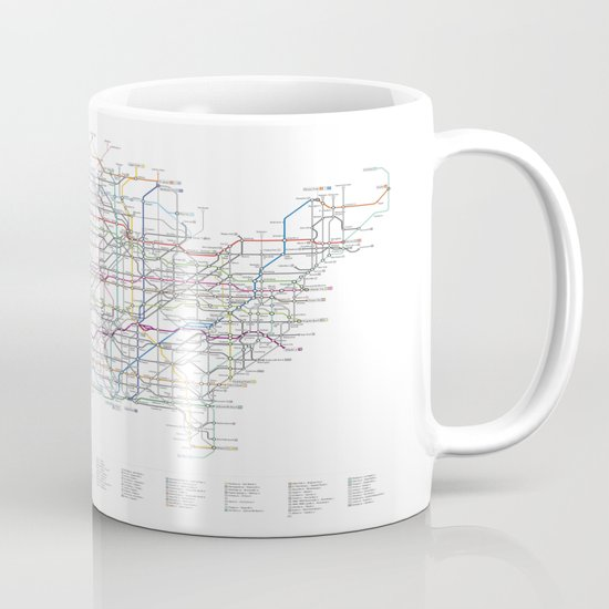 U.S. Numbered Highways as a Subway Map Mug