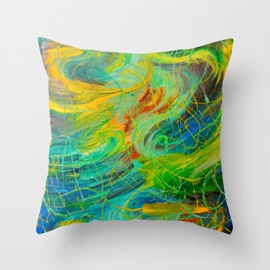 NAUTICAL GALAXY - Beautiful Aquatic Blue Green Ocean Universe Abstract Acrylic Painting Gift Decor Throw Pillow
