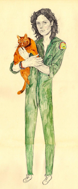Ellen Ripley with Jones   Alien Canvas Print
