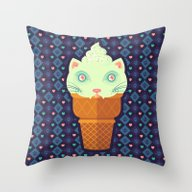 Strawberry-Mint Cat Throw Pillow