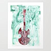 red guitar pt 2 Art Print