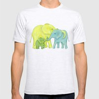 Elephant Family of Three Mens Fitted Tee Ash Grey SMALL