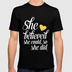 She believed and she did SMALL Black Mens Fitted Tee