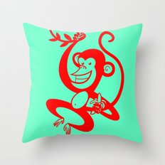 Red Monkey Throw Pillow