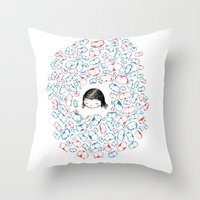 She Mostly Dreams In Cat… Throw Pillow