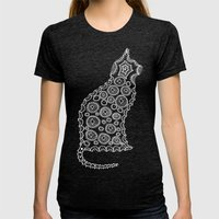 Cat Zendoodle Design Womens Fitted Tee Tri-Black SMALL