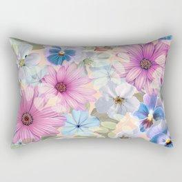 Rectangular Pillow - Pink and blue floral pattern - CatyArte