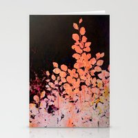 Orange Leaves Against Da… Stationery Cards