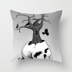 Skull and Tree Throw Pillow