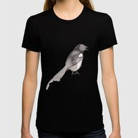 Crow Womens Fitted Tee Black SMALL