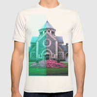 Cracked church... Mens Fitted Tee Natural SMALL