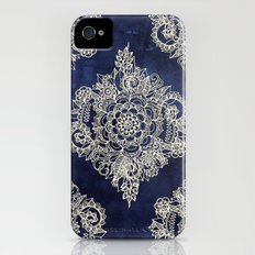 Cream Floral Moroccan Pattern on Deep Indigo Ink Slim Case iPhone (4, 4s)
