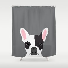 Parker - French Bulldog animal art modern colors for dog people Shower Curtain