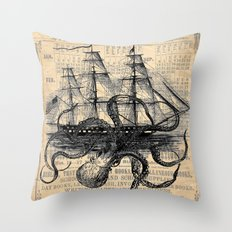 Octopus Kraken Attacking… Throw Pillow
