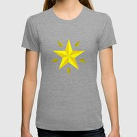 Gold Star/ Blue Womens Fitted Tee Tri-Grey SMALL