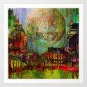 Moon on the city Art Print