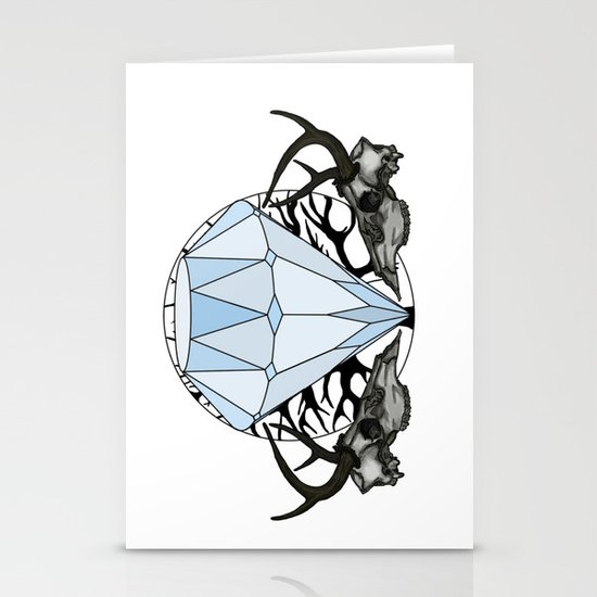 Diamond and skulls Stationery Card