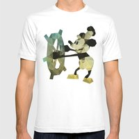 Mickey Mouse as Steamboat Willie Mens Fitted Tee White SMALL