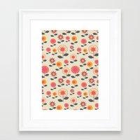 Floral Flight Pink Framed Art Print