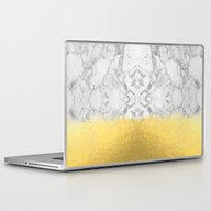 Marble With Brushed Gold… Laptop & iPad Skin