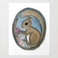 Sherman Squirrel Reads A… Art Print