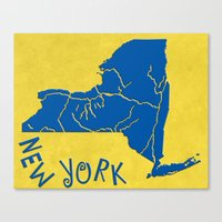 New York State Outline Canvas Print