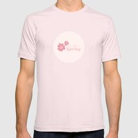 Hi There Spring Mens Fitted Tee Light Pink SMALL