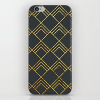 Diamond Art Deco; - Black & Gold  iPhone & iPod Skin